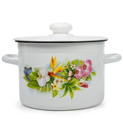 STP Goods 2.1-qt HavaIian Bouquet Enamel on Steel Pot