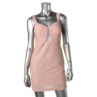 Hailey Logan Womens Juniors Shimmer Mesh Inset Party Dress