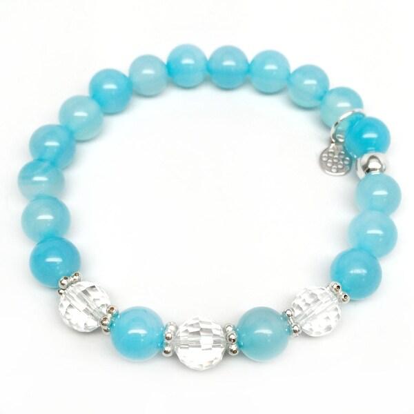 "Turquoise Quartz Naomi 7"" Sterling Silver Stretch Bracelet"