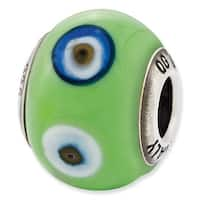 Italian Sterling Silver Reflections Green with Decorative Accents Glass Bead