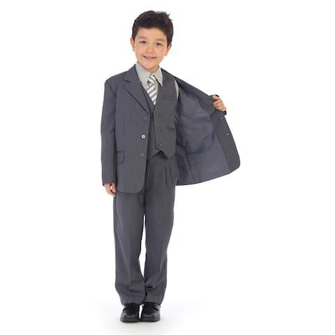 Angels Garment Little Boys Gray Pinstripe Jacket Pants Vest Shirt Tie Suit