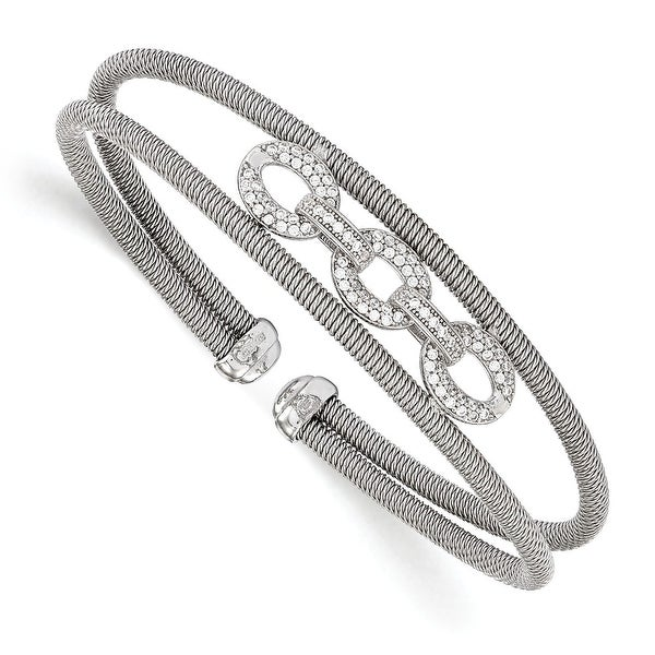 Italian Sterling Silver CZ Flexible Cuff Bangle