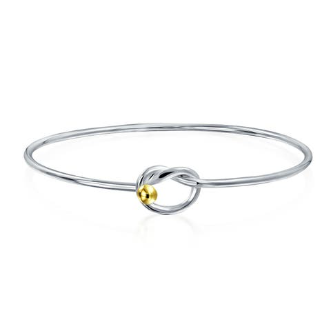 Two Tone Gold Plated Minimalist Simple Eternal Love Knot Bangle Bracelet For Women For Girlfriend 925 Sterling Silver
