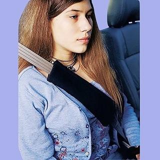 Seat Belt Pads Beige Sheepskin Protects Rubbing
