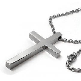 Loralyn Designs Mens Modern Large Cross Pendant Necklace Stainless Steel