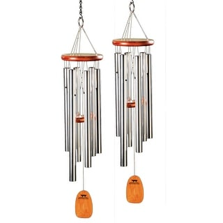 "Woodstock Amazing Grace Wind Chime - Set of 2 Medium Aluminum and Ash Wood Windchimes - 25"" Long - 6 in. x 16 in. x 25 in."