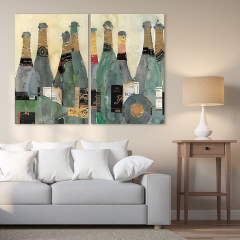 Champagne Bottles Frameless Free Floating Tempered Glass Graphic Wall Art 2 pieces Print 48 in. x 32 in. Each piece.