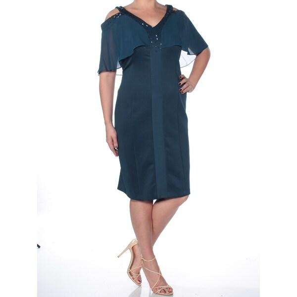 Shop Womens Teal Short Sleeve Below The Knee Sheath Formal Dress