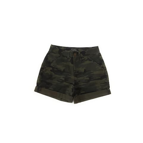 Time and Tru Women's Mid Rise Shorts, Green Camo, 10
