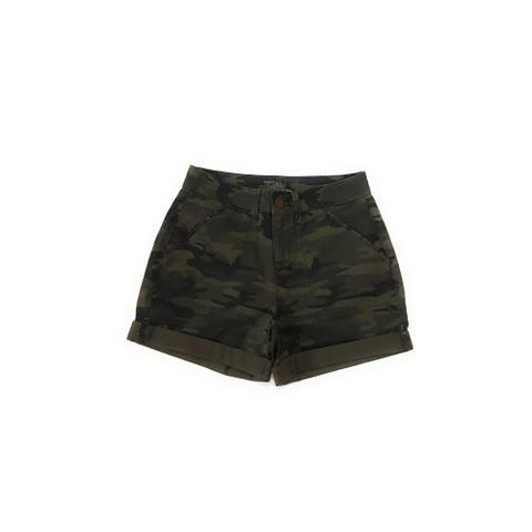 Time and Tru Women's Mid Rise Shorts, Green Camo, 4