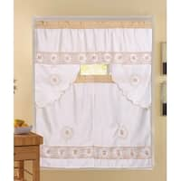 Rosie 3-Piece Floral Embroidered Sheer Kitchen Curtain Set, Beige, Tiers 30x36, Swag 60x36 Inches