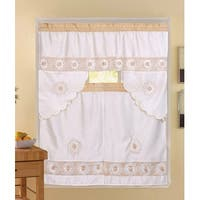 Rosie 3-Piece Floral Embroidered Sheer Kitchen Curtain Set, Beige, Tiers 30x36, Swag 60x36 Inches - N/A