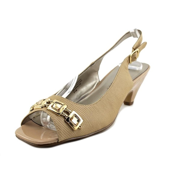 Karen Scott Analese Women Open-Toe Synthetic Tan Slingback Heel