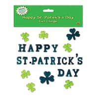 "Club Pack of 336 Happy St. Patrick's Day Gel Window Cling Decorations 7.5"" - Green"