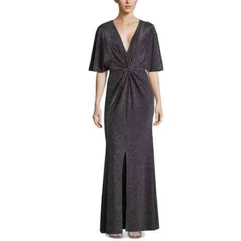 Betsy & Adam Womens Maxi Dress Silver Size 4 Metallic V-Neck Knot-Front