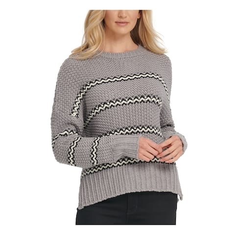 DKNY Womens Gray Striped Long Sleeve Crew Neck Sweater Size L