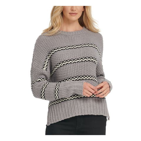 DKNY Womens Gray Striped Long Sleeve Crew Neck Sweater Size S