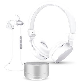 Hypergear 3-Piece Audio Gift Set w/ Bluetooth Headphones, Earbuds & Speaker Silver (14308)