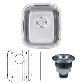 "Ruvati RVM4110  Parmi 15-3/4"" Undermount Single Basin 16 Gauge Stainless Steel Kitchen Sink with Basin Rack and Basket Strainer"