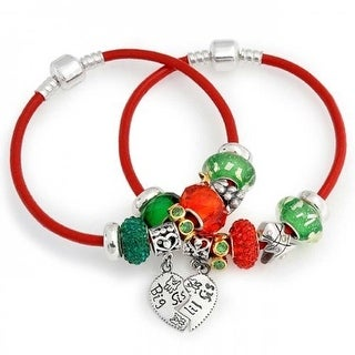 Bling Jewelry Big Sis Lil Sis Sterling Silver Christmas Enamel Glass Charm Bracelet Set