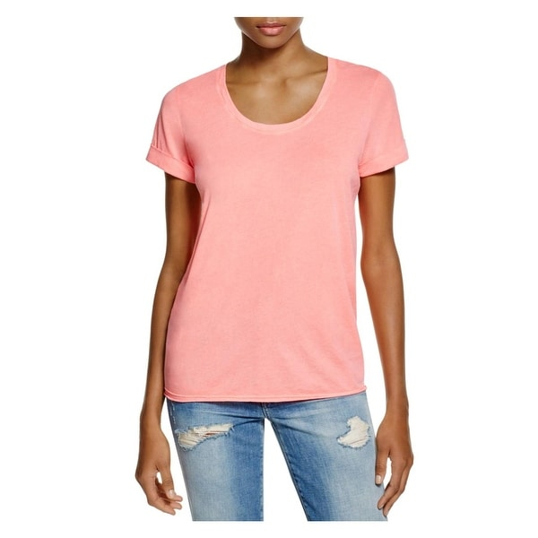 Splendid Womens T-Shirt Burnout Cuffed Sleeve