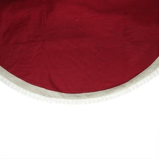"""54"""" Rustic Chic Red Burlap Christmas Tree Skirt with Pleated Off-White Linen Trim"""