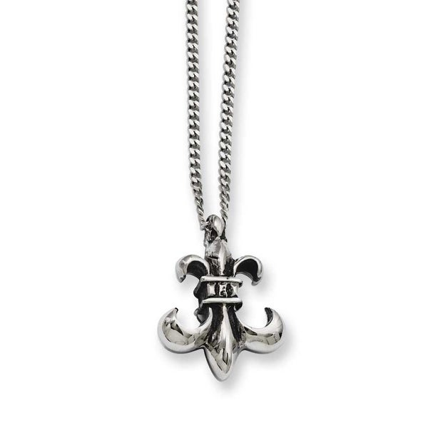 Stainless Steel Antiqued Fleur de lis 18in Necklace (2 mm) - 18 in