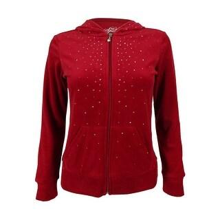 Style & Co Women's Rhinestoned Zippered Hoodie