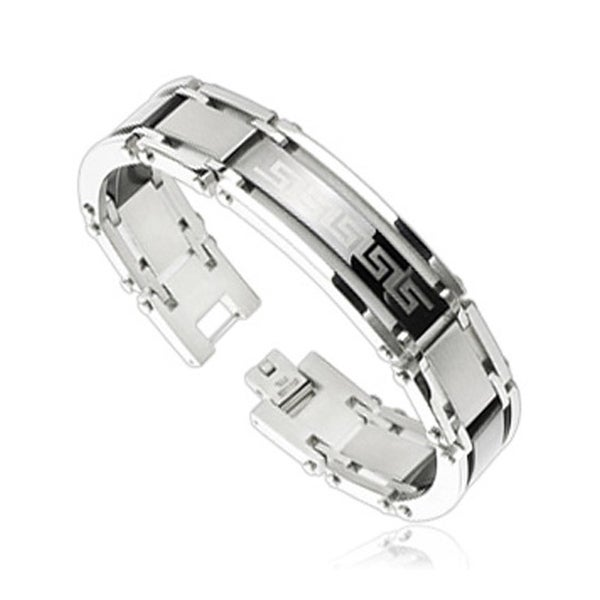 Stainless Steel Link Bracelet with Tribal Logo (15 mm) - 8.75 in