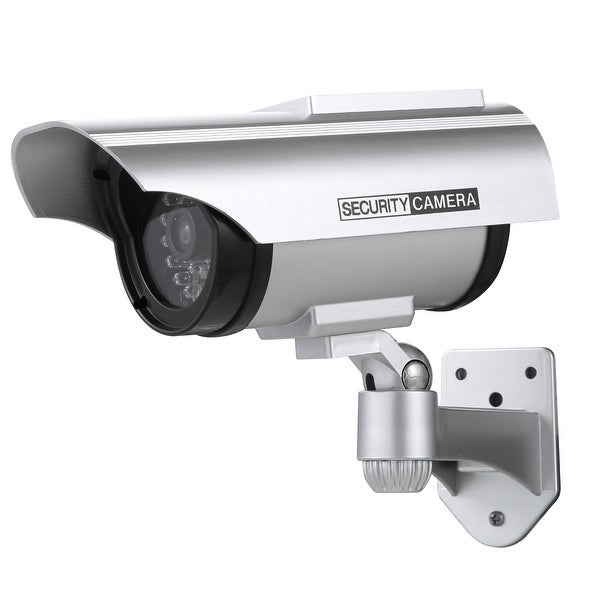 Solar Powered Dummy Fake Security Camera with Flashing Red LED for Indoor and Outdoor Use