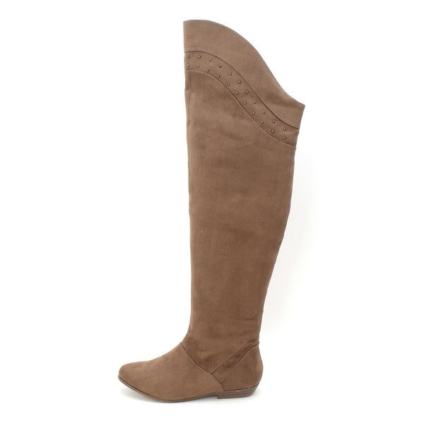 Just Fab Womens CECILIA Fabric Almond Toe Knee High Fashion Boots