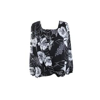 Alfani Black Butterfly-Sleeve Crochet Back Printed Top