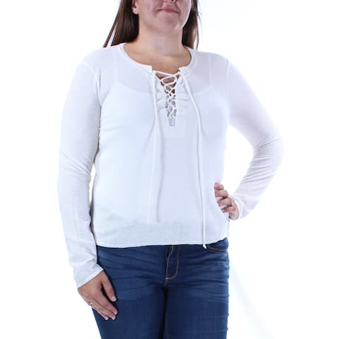 CHELSEA SKY Womens Ivory Long Sleeve Jewel Neck Top Size XL