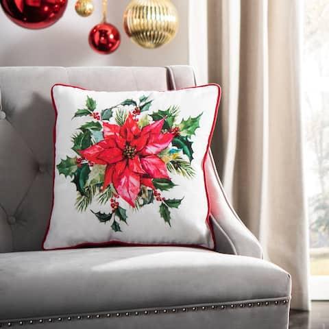 SAFAVIEH Holiday Gwendolen Beige/Red/Green 18-inch Decorative Pillow