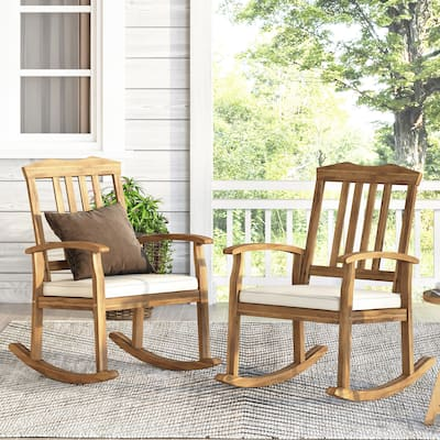 Petes Outdoor Acacia Wood Outdoor Rocking Chair with Cushion by Christopher Knight Home