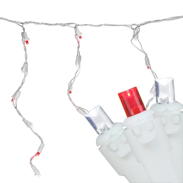Set of 100 Red and Pure White LED Wide Angle Icicle Christmas Lights - White Wire