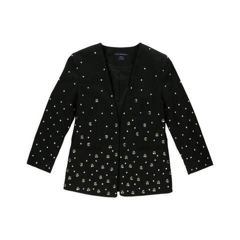 French Connection Womens Studded Open Front Blazer Jacket, black, 0