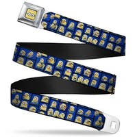 Minion Dave Face Close Up Full Color Minions Posing Blocks2 Blue Webbing Seatbelt Belt