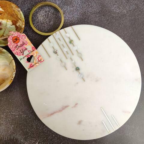 "GAURI KOHLI Abruzzo Round Marble Cheese Board (13.5""x10"")"