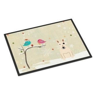Carolines Treasures BB2610MAT Christmas Presents Between Friends Bull Terrier White Indoor or Outdoor Mat 18 x 0.25 x 27 in.