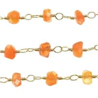 Carnelian Gemstone Gold Vermeil Wire Wrapped Chain 4mm Rondelles - By The Inch