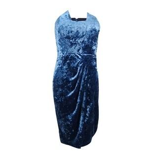 JAX Women's Strapless Crushed Velvet Sheath Dress - Blue