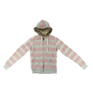 U.S. Polo Assn. Womens Juniors Striped Sherpa Fleece Jacket