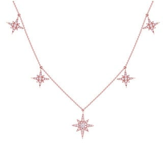 Beautiful 0.43 Carat G-H/SI1 Round Brilliant Cut Natural Diamond Star Necklace - White