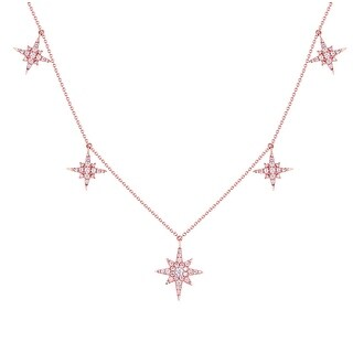 Prism Jewel 0.43 Carat G-H/SI1 Round Cut Natural Diamond 17 Inches Star Necklace - White