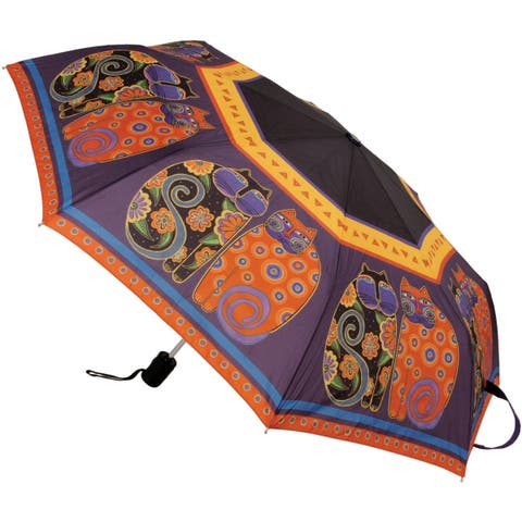 "Laurel Burch Compact Umbrella 42"" Canopy Auto Open/Close-Feline Family Portrait"