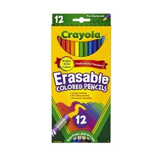 Crayola Erasable Colored Pencil Set, Assorted Colors, Set of 12