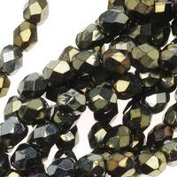Czech Fire Polished Glass Beads 4mm Round Brown Iris (50)