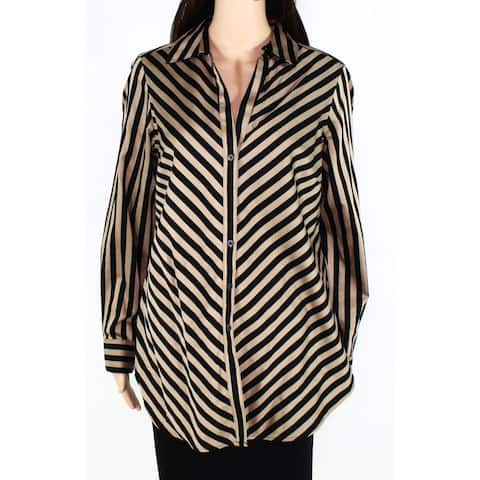 Foxcroft Womens Blouse Beige Black Size 10 Button Down Striped Collared
