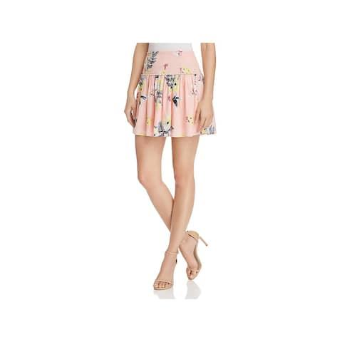 BB Dakota Womens Guiliana Mini Skirt Smocked Floral